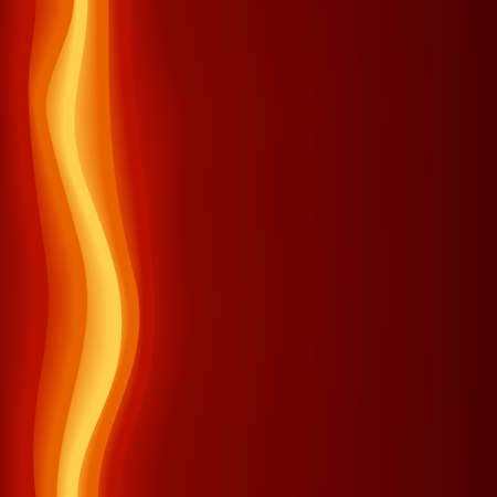 blends: Square dark red background with modern abstract curves in bright yellow, orange, red. 5 global colors, use of blends and clipping masks