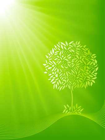 Stylized tree shiloutte on a green light burst background. 5 global colors, blends, clipping masks and linear gradient. Stock Vector - 4473765