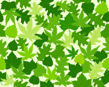 beech: Seamless pattern with oak, maple, beech and chestnut leaves in various shades of green. 8 global colors.