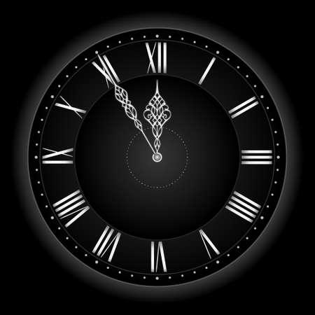 happy hours: Cinq � douze ... ou de temps de pr�s de vous! Chic et �l�gant, vecteur d'horloge avec les mains au cours de cinq � douze. Global couleurs, gradient lin�aire, les m�langes. Illustration
