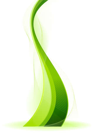 Abstract wavy vector background in green. Use of linear gradients, blends, global colors. Illustration