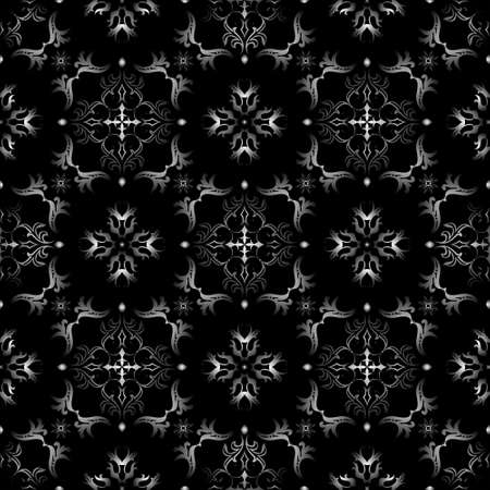 Black and white seamless wallpaper pattern, that will tile seamlessly. 2 global colors, radial gradient. Vector