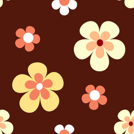 Retro flowers in bright yellow, orange and white on dark red brown background that will tile seamlessly. 7 global colours. Vector