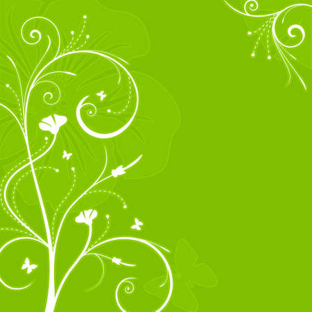 Square green ornate background with floral swirls. 5 global colors. Vector