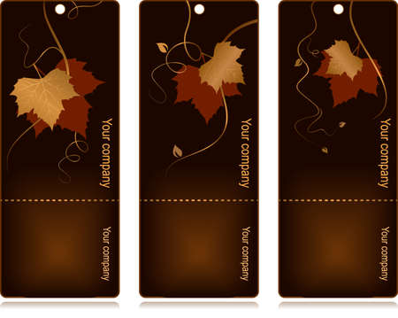 3 elegant tags with red golden autumn leaves and swirls on dark background. Use of blends, linear gradients, global colors. Vector