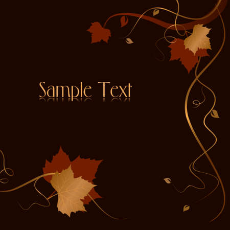 Square dark abstract background with red golden autumn leaves and swirls at the bottom and the right hand side and space for your text. Use of blends, linear gradients, global colors. Vector
