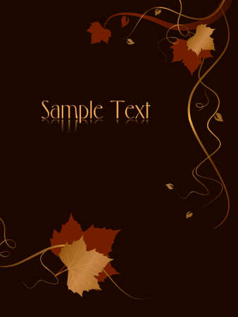 Vertical dark abstract background with red golden autumn leaves and swirls at the bottom and the right hand side and space for your text. Use of blends, linear gradients, global colors. Vector