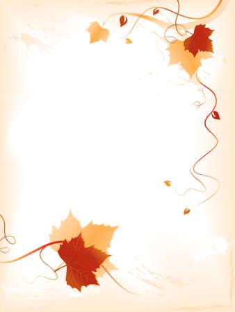 Vertikale Licht abstrakten Hintergrund mit roten goldenen Herbst Blätter und wirbelt auf der unteren und der rechten Seite und Platz für Ihren Text. Verwendung von Mischungen, linearen Gradienten, globale Farben. Artwork Schichten und Gruppen.
