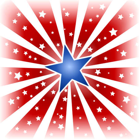 USA, 4th of july red white star burst with shiny blue centre star and little white stars in the red areas. Use of a background blend, global colors. Vector
