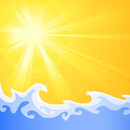Asymmetric ensoleillé lumière froide avec l'éclatement de détente d'eau des vagues. Utilisation des gradients radiaux et linéaire, globale couleurs. Artwork bien regroupés et stratifiés. Vecteurs