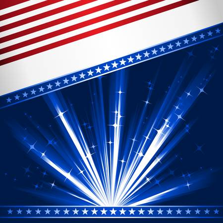 Stylised Stars and Stripes. Patriotic, 4th July celebration background. Use of 6 global linear gradients, 10 global colors. Artwork grouped and layered.