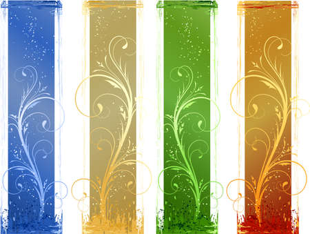 Grunge banners in 4 different color schemes. Floral design elements. Linear gradients, global colors. Artwork grouped and layered. Stock Vector - 5162063