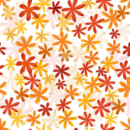 Seamless flower retro pattern in bright autumn colors Vector