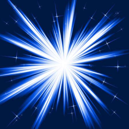 Licht, Stern platzen; stilisierten Feuerwerk von weiß bis dunkel blau mit kleinen Sternen. Burst von einem linearen Verlauf. Die Verwendung von 8 Global Farben.