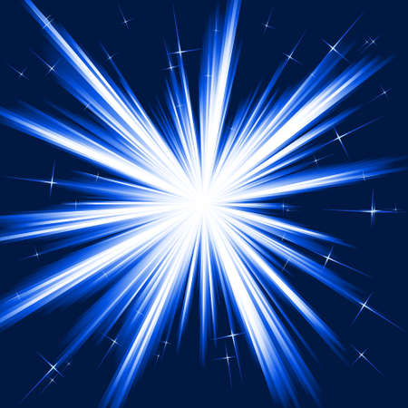 Light, star burst; stylised fireworks from white to dark blue with little stars. Burst controlled by one linear gradient. Use of 8 global colors. Vector