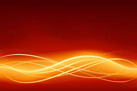 blends: Glowing abstract wave background in   in flaming red golden. Use of global colors and gradients, blends  Illustration