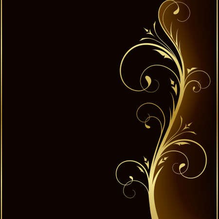 Dark brown square background with golden   scrolls on the right hand side. Use of 6 global colors, linear   gradients, blend. Vector