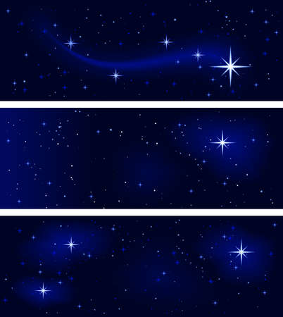 3 banners with different star   constellations. Peaceful, tranquil and silent. Use of   10 global colors, blends. Vector