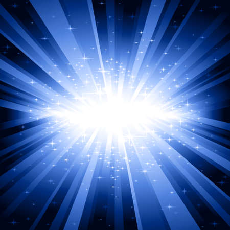 controlled: Festive explosion of light and stars from white to dark blue with centre in the middle of the square image. 7 global colors, background controlled by 1 linear gradient. Illustration