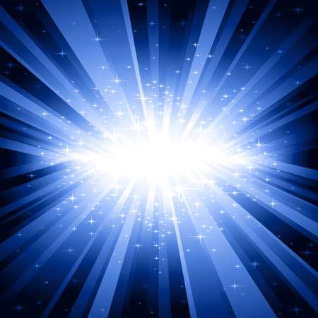 explosion: Festliche Explosion von Licht und Sterne von wei� bis dunkelblau mit Zentrum in der Mitte des Platzes Bild. 7 globale Farben, Hintergrund von 1 linearen Verlauf gesteuert. Illustration