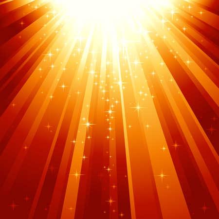 milagros: Festivos resumen de antecedentes cuadrados con estrellas descendente sobre los rayos de luz dorada rojo. 7 colores mundial, fondo controlado por 1 degradado lineal.