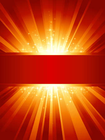 explodindo: Red golden light burst with sparkling stars and space for your message. 1 linear gradient, 7 global colors for easy change of color scheme. Artwork grouped and layered.