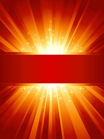 light burst: Red goldenes Licht brach mit funkelnden Sternen und Raum f�r Ihre Nachricht. 1 linearen Gradienten, 7 globale Farben f�r einfaches Auswechseln der Farbschema. Artwork gruppiert und geschichtet. Illustration