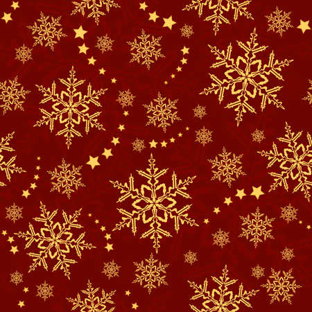 Red golden snowflakes, winter texture that will tile seamlessly. 3 global colors, artwork grouped and layered. Stock Vector - 5400883