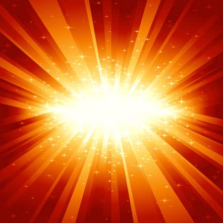 explosie: Feestelijke explosie (gecentreerd) van het licht en de sterren van wit tot goud tot donker rood. 7 wereldwijde kleuren, lichtstralen gecontroleerd door 1 lineair verloop. Stock Illustratie