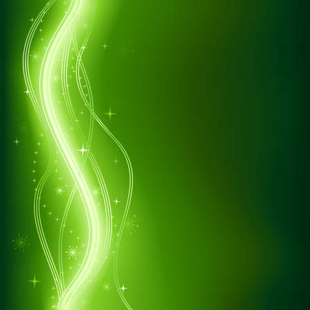 Green glowing vector phantasy background with stars. Vector