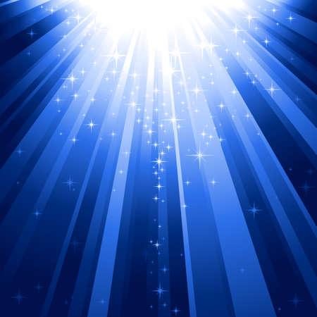 Festivos fondo azul abstracto cuadrados con estrellas descendente sobre los rayos de luz. 7 colores mundial, fondo controlado por 1 degradado lineal.