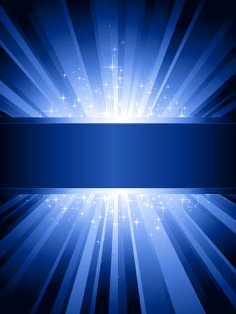 grouped: Blue light burst with sparkling stars and space for your message. 1 linear gradient, 7 global colors for easy change of color scheme. Artwork grouped and layered.