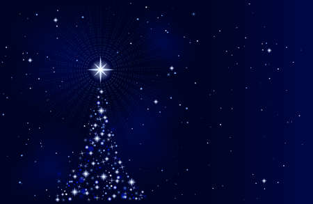 Abstract Christmas background with Christmas tree, peaceful, tranquil and silent. Use of 10 global colors, blends. Artwork grouped and layered. Vector