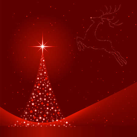 Square red background for Christmas showing a Christmas tree made of stars and the silhouette of a reindeer in the sky. 6 Global colors, blends. Artwork grouped and layered. Vector