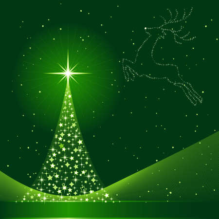 Square green background for Christmas showing a Christmas tree made of stars and the silhouette of a reindeer in the sky. 6 Global colors, blends. Artwork grouped and layered.
