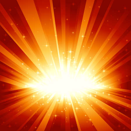 Festive red golden light burst and stars with centre in lower third of the square image. 7 global colors, background controlled by 1 linear gradient. Artwork grouped and layered. Stock Vector - 5584868