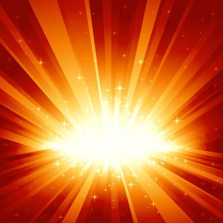 light burst: Festliche rot goldenes Licht brach und die Sterne mit Zentrum im unteren Drittel des Platzes Bild. 7 globale Farben, Hintergrund von 1 linearen Verlauf gesteuert. Artwork gruppiert und geschichtet.