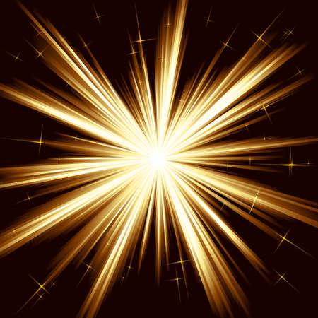 light burst: Braune goldenes Licht, star Burst; stilisierten Fireworks mit wenig Sternen. 8 globale Farbfelder. Bildmaterial, gruppiert und mit Ebenen. Illustration