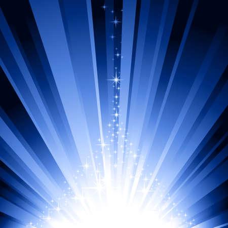 bursts: Esplosione di luce e le stelle che formano un albero di Natale stilizzato. 7 campioni di colore globale. Vettoriali