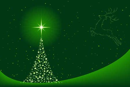 Fondo verde horizontal para la Navidad que muestra un árbol de Navidad de estrellas y la silueta de un Reno en el cielo.  Ilustración de vector