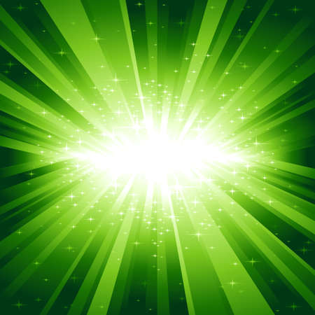 Festive explosion of light and stars from white to dark green with centre in the middle of the square image. Vector