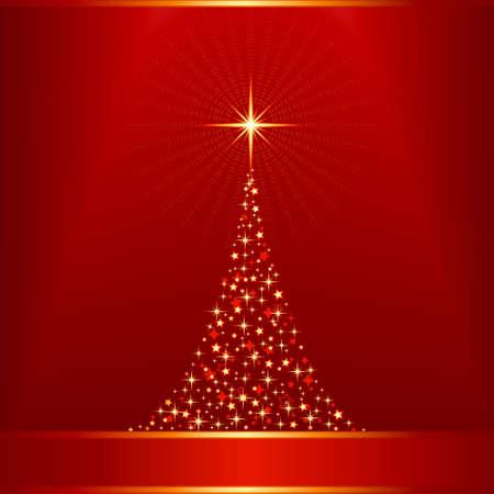 Fond de Noël golden carré rouge avec un arbre de Noël en étoiles.