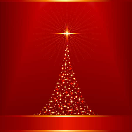 Square red golden Christmas background with a Christmas tree made of stars. Vector