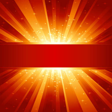 Red golden light burst with sparkling stars and space for your message. 1 linear gradient, 7 global colors for easy change of color scheme. Artwork grouped and layered. Vector