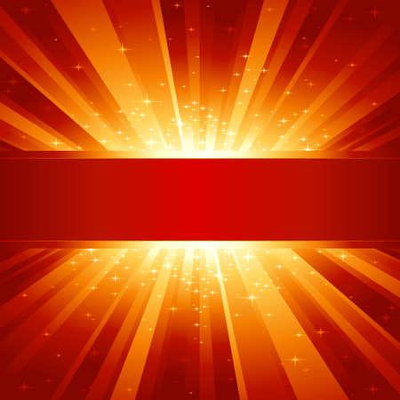 brillante: Rosso scoppio luce dorata con stelle scintillanti e lo spazio per il tuo messaggio. 1 sfumatura lineare, 7 colori globali di facile cambiare la combinazione di colori. Disegno raggruppati e sovrapposte. Vettoriali