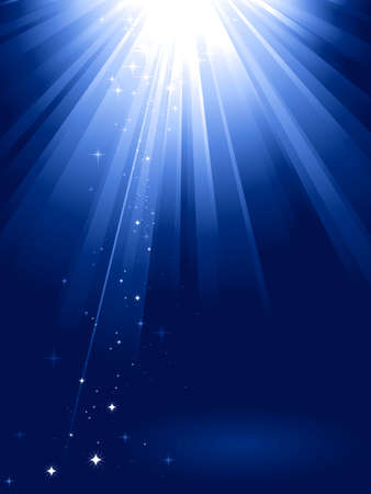 light beams: Blue light burst with sparkling stars and space for your message. 1 linear gradient, 7 global colors for easy change of color scheme. Artwork grouped and layered.
