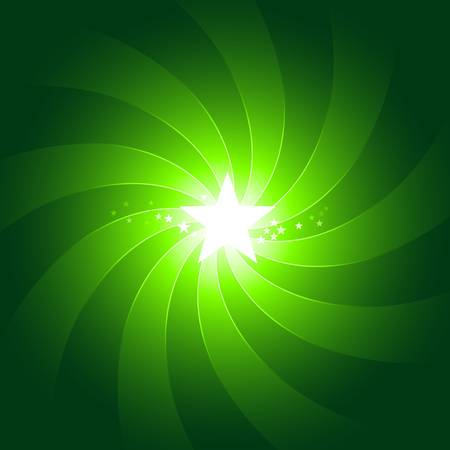 Centered vibrant green light burst with shining white star in the middle. Use of radial gradients and 6 global color swatches. Artwork grouped and layered.  Vector