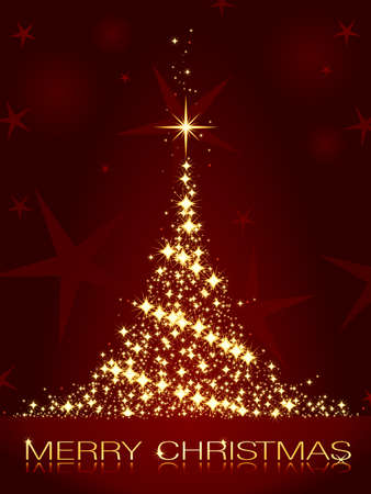 glistening: Estrellas de oro formando un �rbol de Navidad brillantes sobre un fondo rojo oscuro.