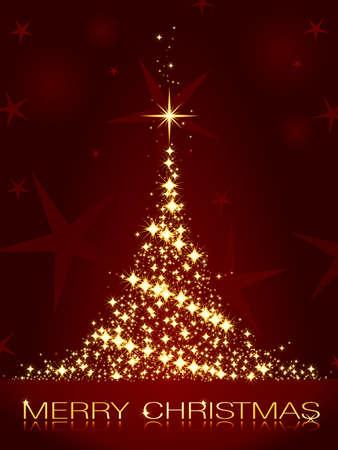 glistening: Golden stars forming a glistening Christmas tree on dark red background.