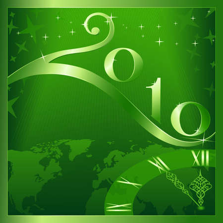 Green 'Happy New Year and Merry Christmas 2010' card.  Stock Vector - 5731341